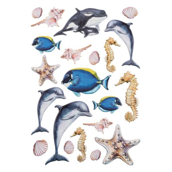 3-D Relief-Sticker, Maritim, Delfine, verschiedene Größen, selbstklebend