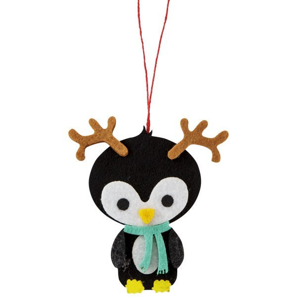 Filz-Anhänger, Pinguin mit Rentiergeweih, 7,5x8cm, 2er Set