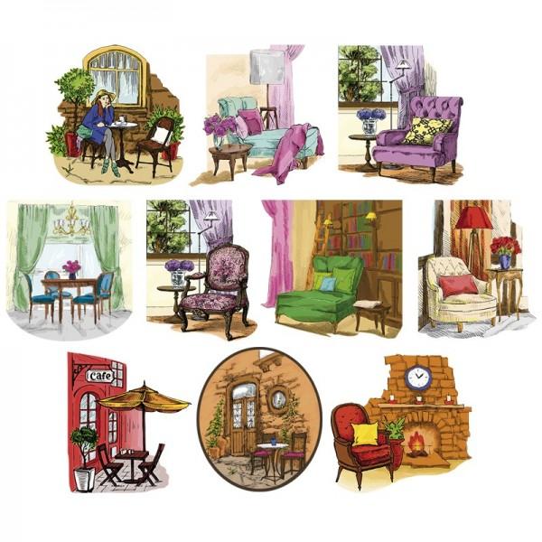 3-D Motive, Gemütliche Sitzplätze, 7,5-10cm, 10 Motive