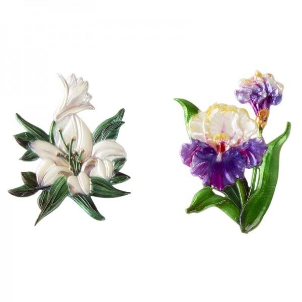 Wachsornamente, Schwertlilie & Lilie, 2 Stück