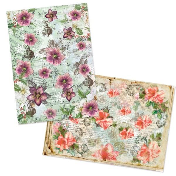 """Reispapiere, Weihnachten """"Blüten"""", DIN A4, 2 Designs"""