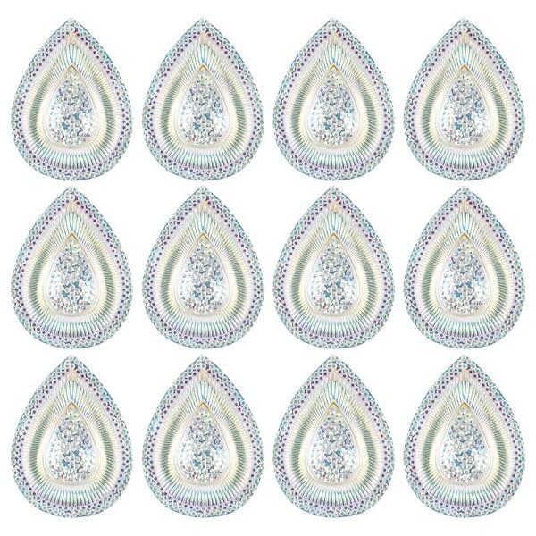 Kristallkunst-Schmucksteine, Tropfen 6, 3,9cm x 2,9cm, transparent, klar, irisierend, 12 Stück