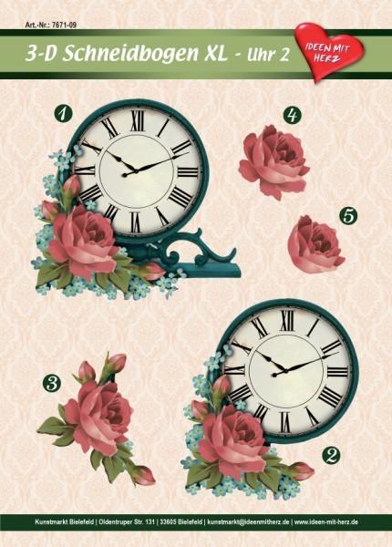 3-D Bogen XL-Uhr, Design 2, zum Ausschneiden