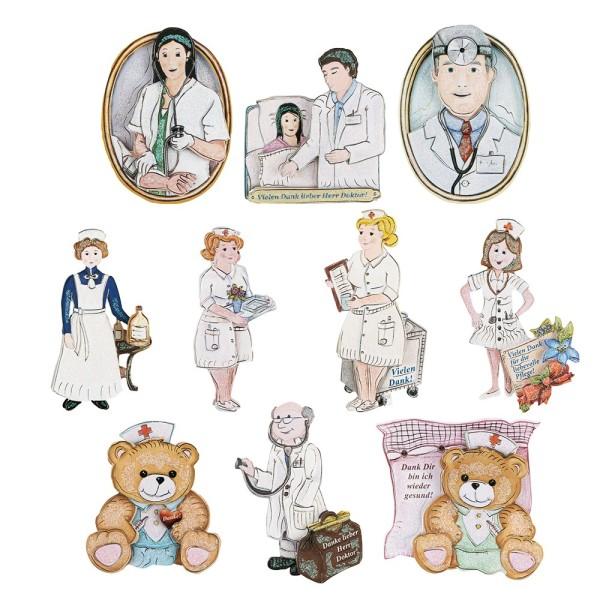 3-D Motive, Arzt-Serie, Gold-Gravur, 4,5-10,5cm, 10 Motive