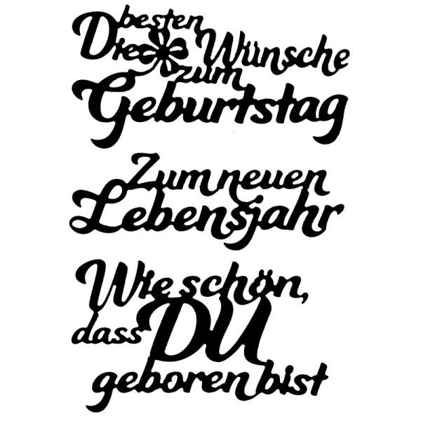 Stanzschablonen, Schriften, Geburtstagswünsche 3, 3,4cm bis 9,7cm, 3 Stück