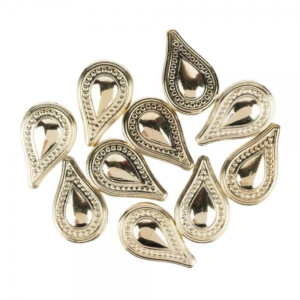 Perlen, Tropfen, 3,5cm x 2,2cm, hellgold, 10 Stück