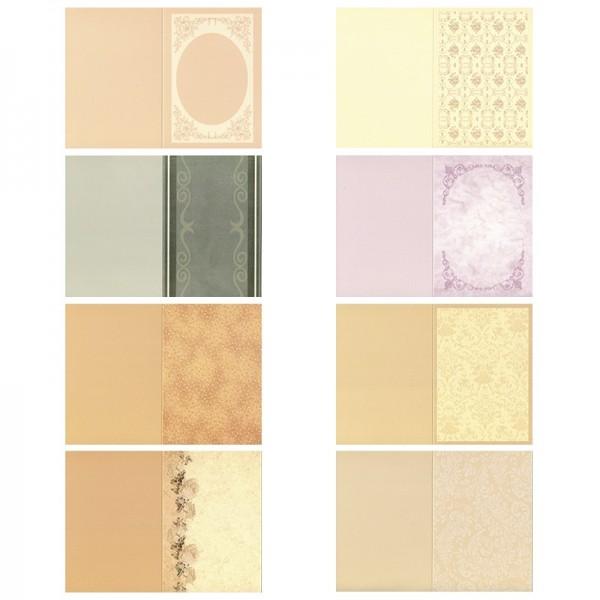 Motiv-Doppelgrußkarten, Pastelltöne, B6, 8 Stück