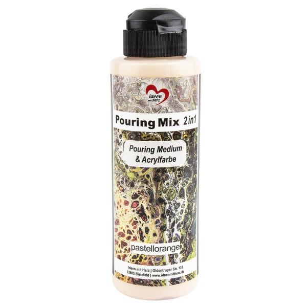 Pouring Mix, 2 in 1, Pouring Medium & Acrylfarbe, pastellorange, 180ml