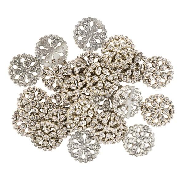Premium-Schmucksteine, Rund-Ornament 2, Ø 2,3cm, hellgold, mit Glaskristallen, 24 Stück