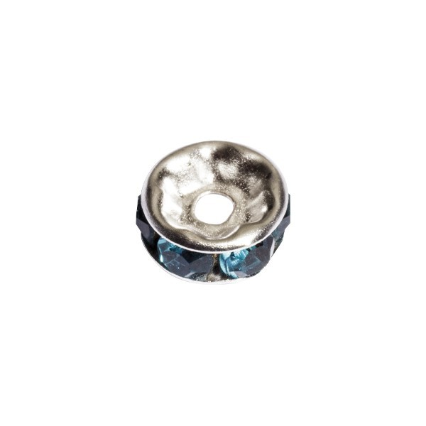 Strass-Rondell mit Strass-Steinen, Ø0,8 cm, 10 Stück, silber/türkis
