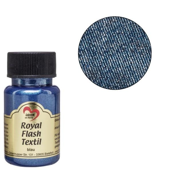 Royal Flash Textil, Glitzer-Metallic-Farbe, 50 ml, blau