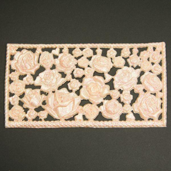 Wachsornament-Platte Rosen , ca. 16cm x 8cm, Lachs mit Glimmer