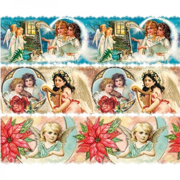 Zauberfolien, Vintage Engelchen, Schrumpffolien für Ø 6cm, 5,5cm hoch, 6 Stück