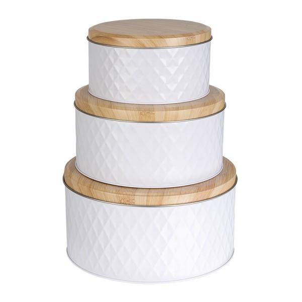 Metall-Dosen, weiß, 3 verschiedene Größen, 3 Stück