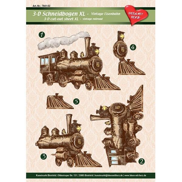 3-D Bogen XL-Eisenbahn, Vintage, zum Ausschneiden