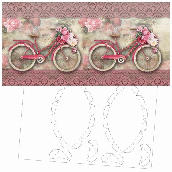 Prickel-Karte, Nostalgie-Fahrrad, inkl. Böden & Ecken, 16cm x 16cm
