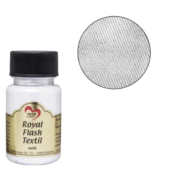 Royal Flash Textil, Glitzer-Metallic-Farbe, 50 ml, weiß