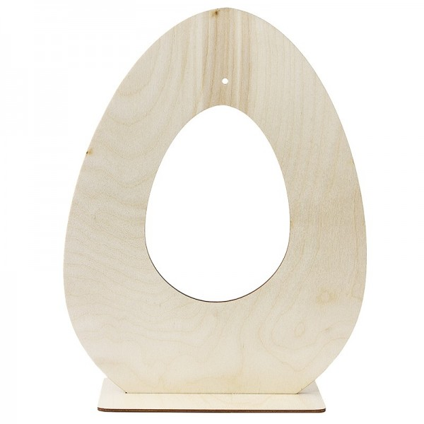 Deko-Ei aus Holz zum Aufstellen, Design 2, 30cm x 23,3cm, mit eiförmiger Aussparung