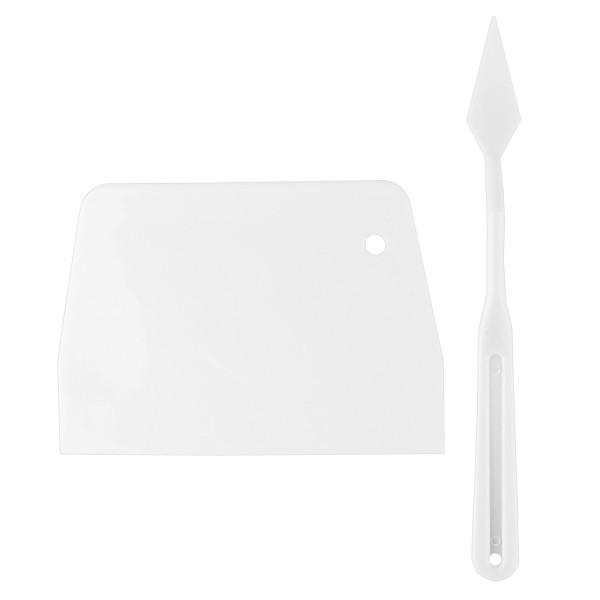 Spachtel & Rakel, Klingenlänge Spachtel: 4,5cm x 1,8cm, Rakel: 13cm x 9,3cm, weiß