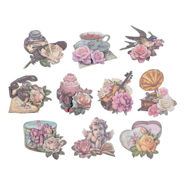 3-D Motive, Vintage-Rosengrüße, mit Perlmutt-Leinenstruktur, 7-10,5cm, 10 Motive