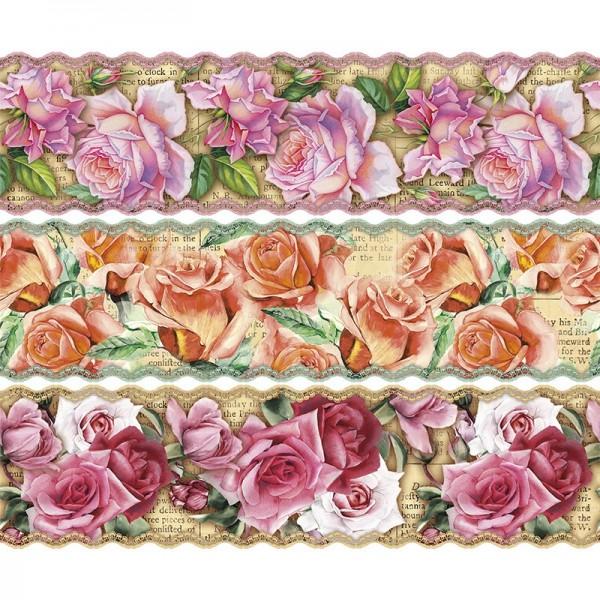 """Zauberfolien """"Nostalgie-Rosen"""", Schrumpffolien für Ø9cm, 8,5cm hoch, 6 Stück"""