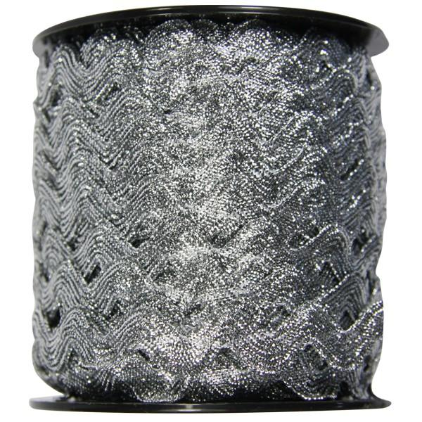 Zickzack Deko-Band auf Rolle, 7mm x 25 m, silber
