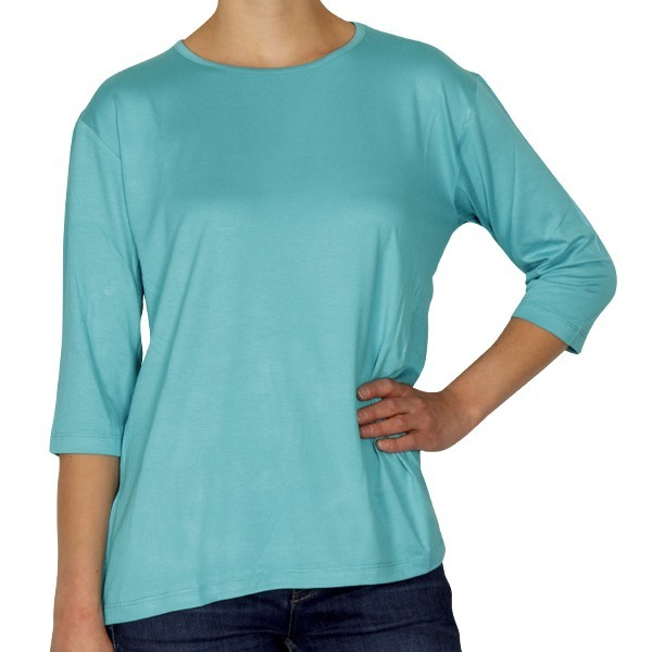 Creative Shirt, 3/4-Ärmel, türkis, Größe 36/38