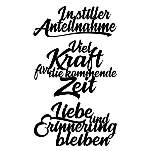Stanzschablonen, Schriften, Kondolenz 3, 3,2cm bis 8,3cm, 3 Stück