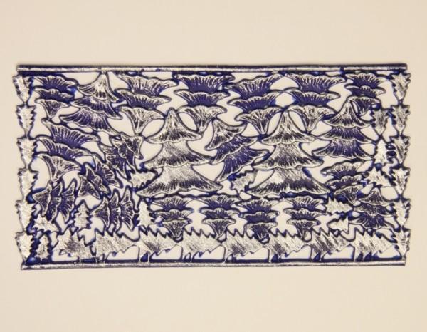 Wachsornament-Platte Tannenbäume, 16 x 8 cm, blau-silber