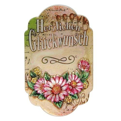 """Wachsornament, Plakette """"Herzlichen Glückwunsch"""", farbig, geprägt, 8x5cm"""