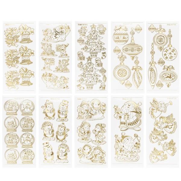 Gravur-Stickerbogen, Winter/Weihnachten, 10cm x 23cm, transparent/gold, 10 Bogen