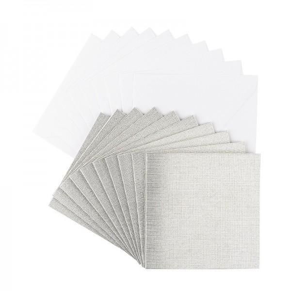 Grußkarten Glitzer-Leinen, 11cm x 11cm, silber, inkl. Umschläge, 10 Stück
