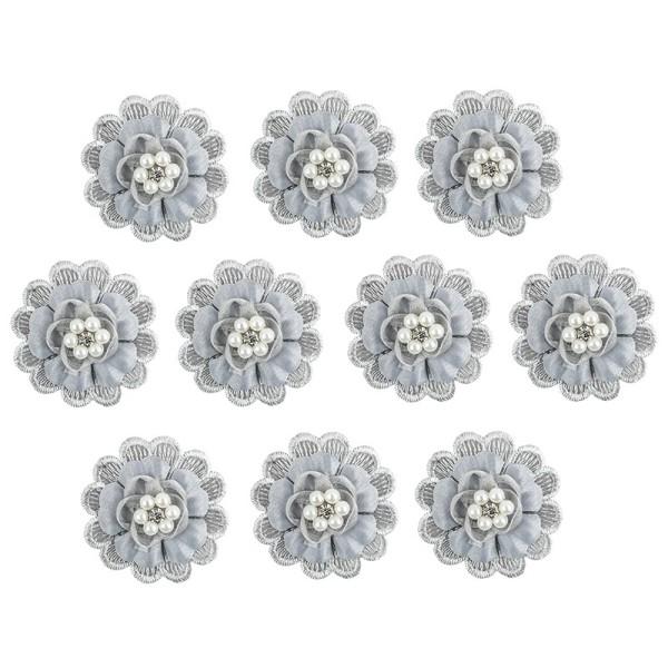 Spitzen-Blüten, mit Perlen, Ø 5cm, silbergrau, 10 Stück