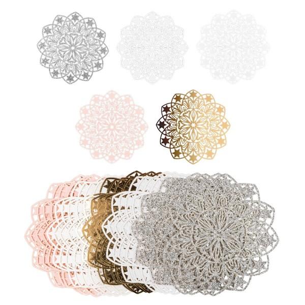 Laser-Kartenaufleger, Zierdeckchen, Ornament 6, Ø 14cm, 220 g/m², 5 Farben, 20 Stück