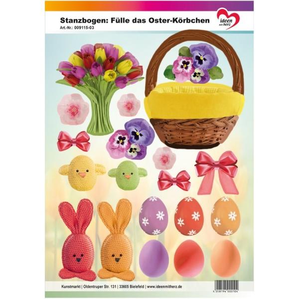 Stanzbogen, Fülle das Oster-Körbchen, DIN A4, gelb
