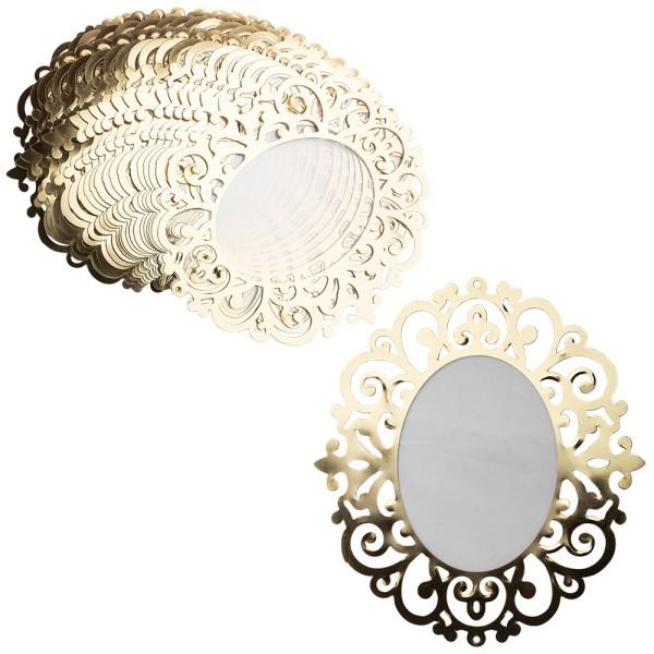 Windradfolien-Scheiben, Gold & Stanzornamentik, Oval 2, 16,4cm x 18cm, 500µ, transparent, 20 Stück