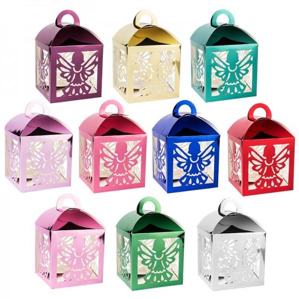 """Faltboxen """"Engel"""", mit 4 Engel-Ausstanzungen, 10x10x10cm, Spiegelkarton, verschiedene Farben, 10 St"""
