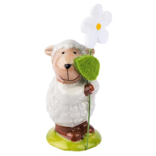 Deko-Schaf mit Filzblume 2, Porzellan, 5,5cm