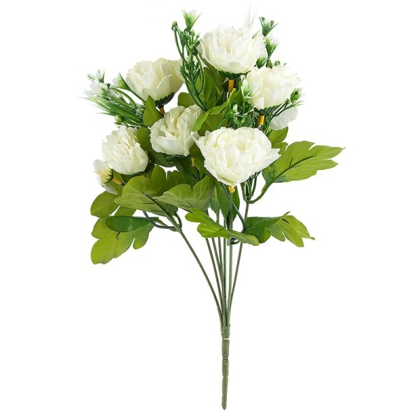Blütenbusch, Nelken, 31cm hoch, Ø 4cm, 7 große Blüten, weiß/grün