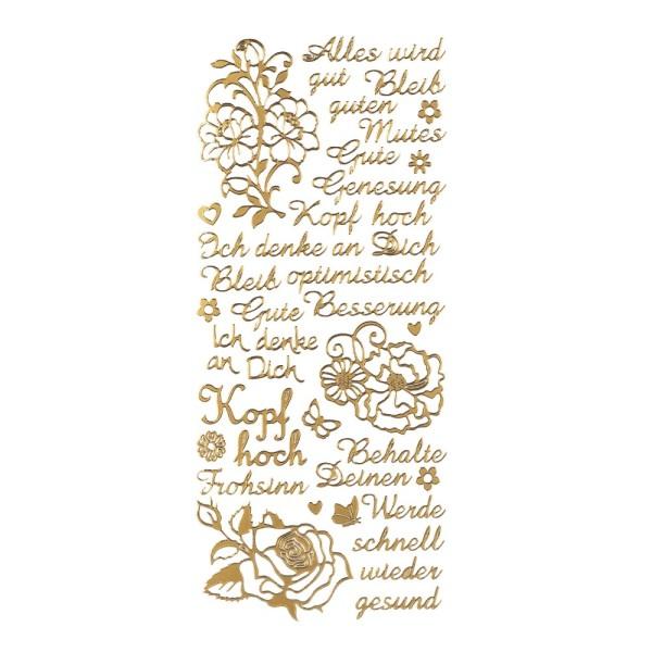 """Sticker, Schriften, """"Kopf hoch/Gute Besserung"""", uvm., Perlmuttfolie, gold"""