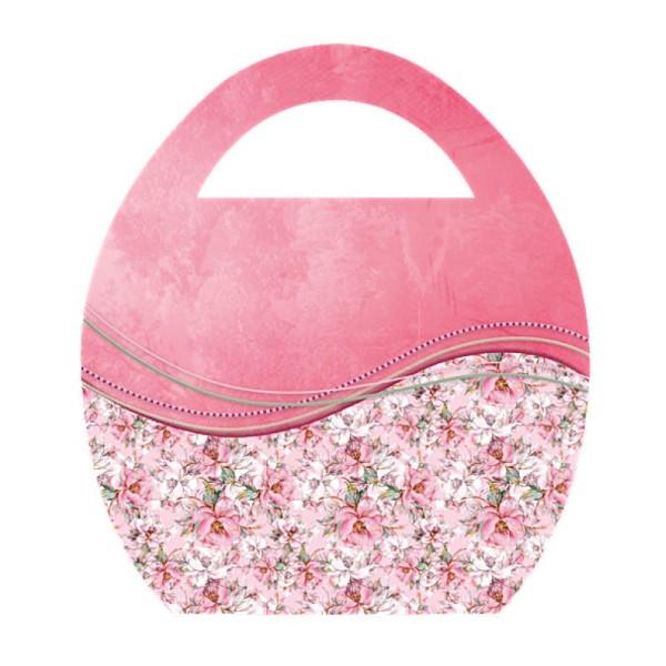 """Deko-Bild """"Ei-Tasche mit Blumen-Schwung"""", mit Griff, 20x23cm, lachs, 2 Stück"""
