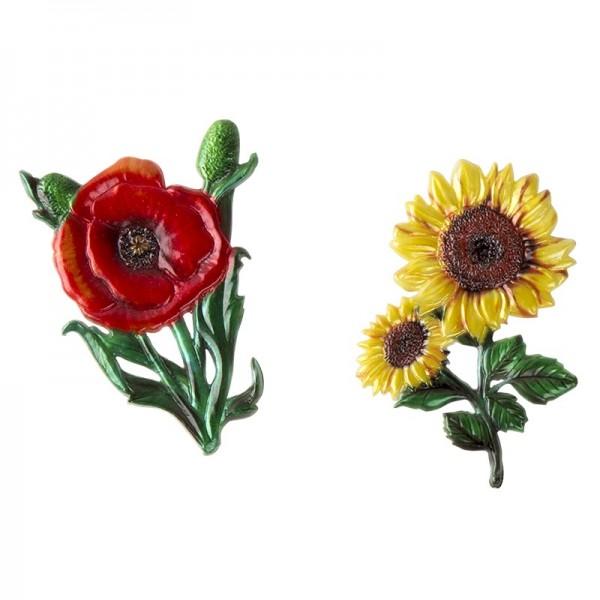 Wachsornamente, Sonnenblume & Klatschmohn, 2 Stück