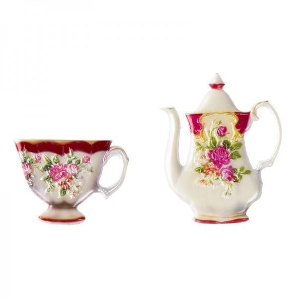Wachsornamente, Tasse & Kanne 3, Kaffee/Tee, 2 Stück