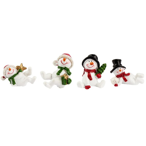 Deko-Figuren, Schneemänner, 3 - 4,5cm hoch, 4 Stück