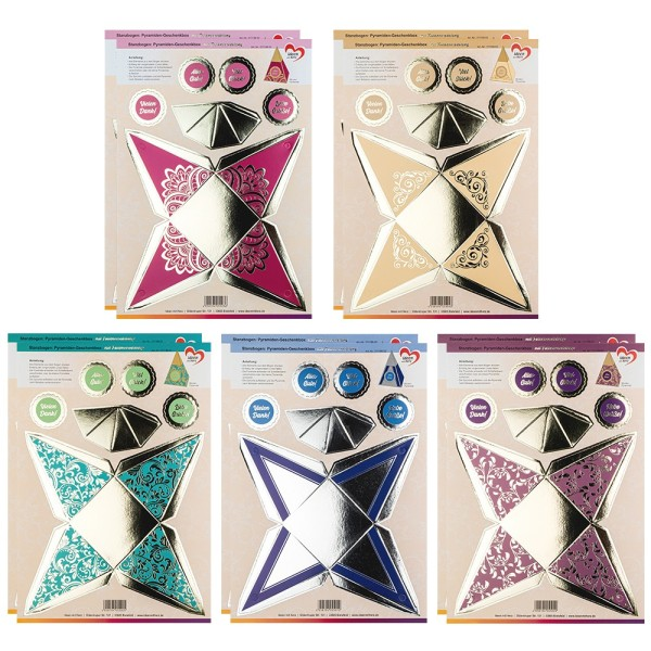 Stanzbogen, Pyramiden-Geschenkboxen, DIN A4, 5 verschiedene Designs, 10 Stück