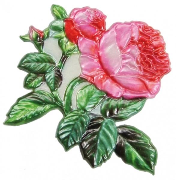 Wachsornament Rose mit Knospe, farbig, geprägt, 9 x 8,5 cm