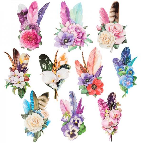 3-D Motive, Blüten & Federn, 6-13 cm, 10 Motive