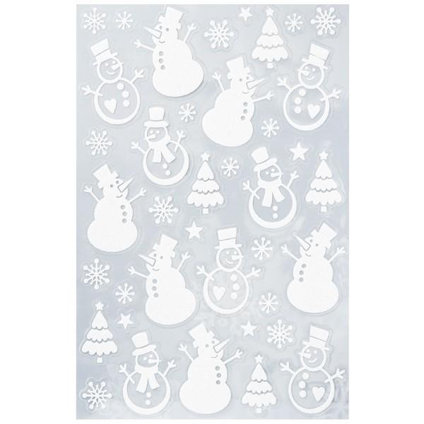 Glimmer-Relief-Sticker, Schneemänner, weiß-irisierend, 14 x 21 cm