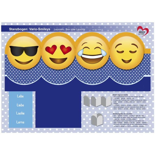 Stanzbogen, Vario-Smileys, DIN A4, Design 5