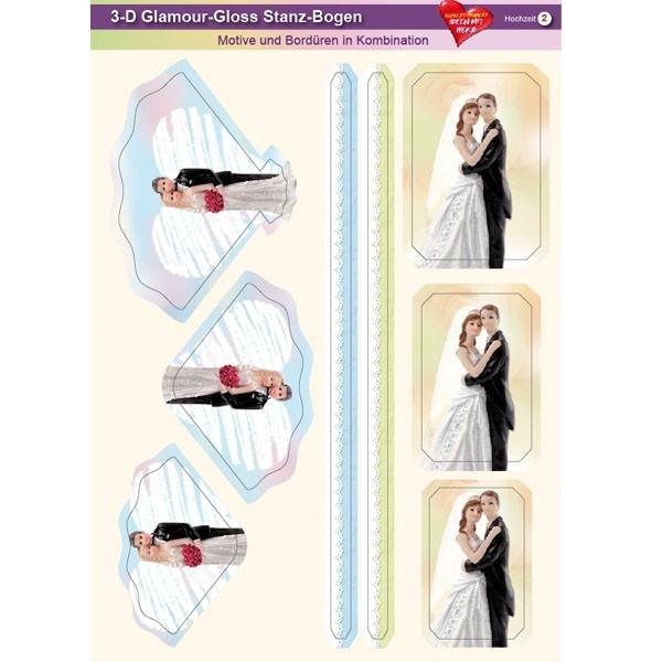 3-D GlamourGloss Bogen, Hochzeit, DIN A4, Motiv 2
